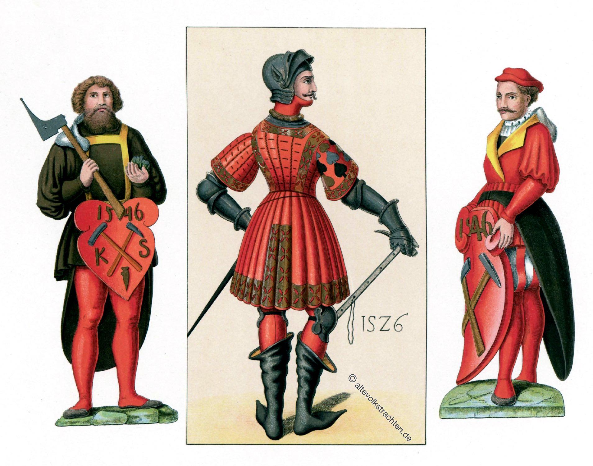 Hefner-Alteneck, Sachsen, Bergleute, Bergbarde, Brandenburgische Hoftracht, Kostümgeschichte, Barock