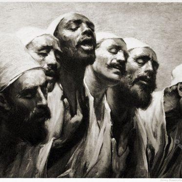Gruppe von Derwischen. Istanbul, Türkei um 1900.