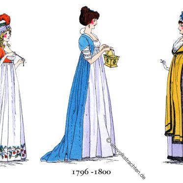 Die Mode Ende des 18. Jahrhunderts. Hüte und Kostüme.