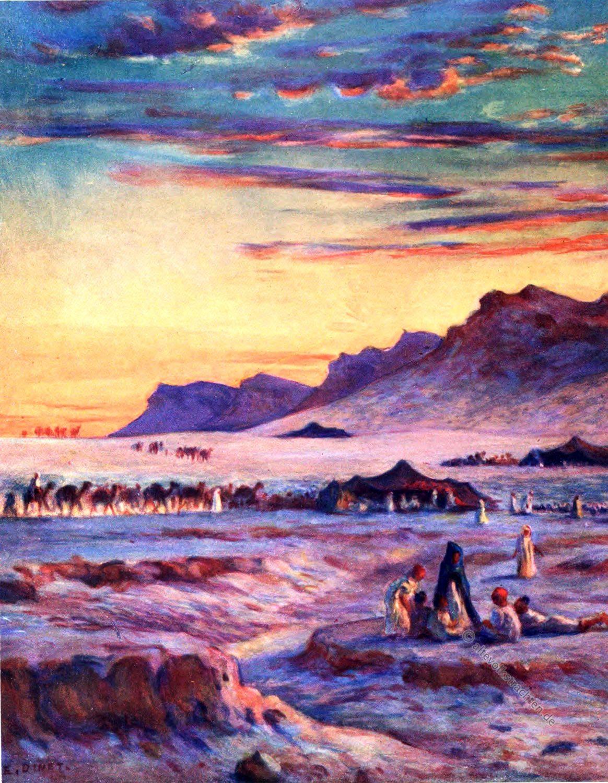 Encampment, Lagerplatz, Wüste, Sahara, Zelte, Nomaden, Hatsch, Etienne Dinet