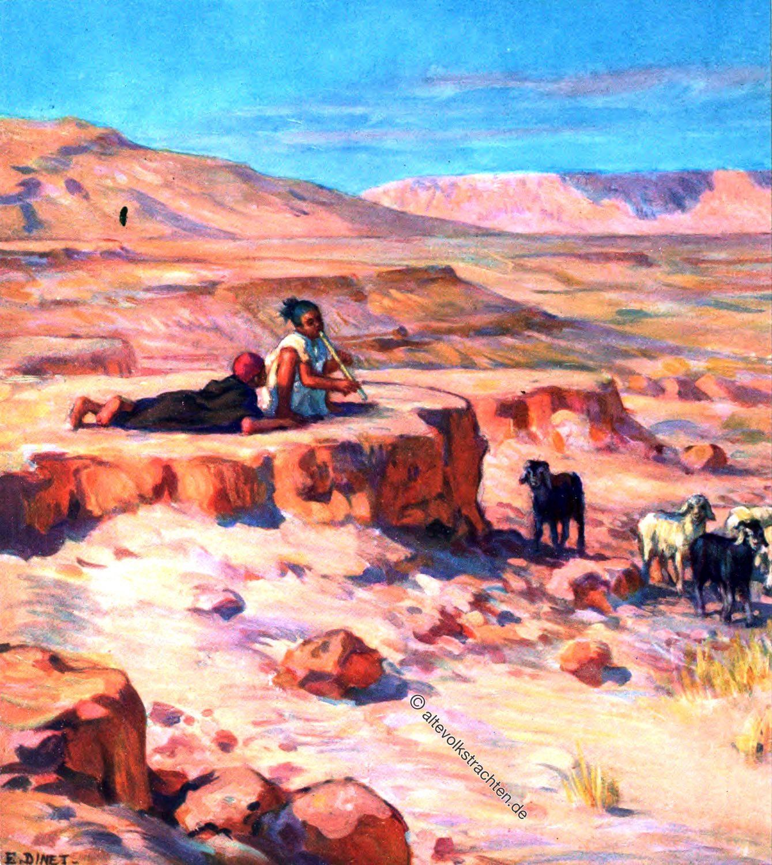 arabische Hirten, Flocks, Herden, Wüste, Saudi Arabien, Schafe, Kamele, Etienne Dinet