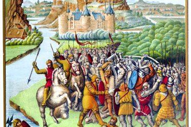 Fouquet, Miniatur, Schlachtszene, Ritter, Schloss, Mittelalter