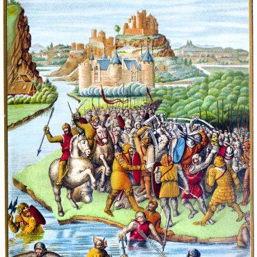 Kampf von Jonathan gegen Baccide. Mittelalterliche Schlacht. 15. Jh.