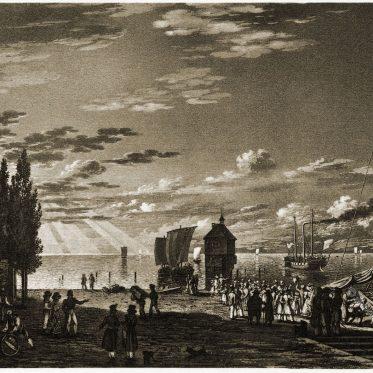 Der Hafen von Konstanz von  Franz Hegi um 1820.