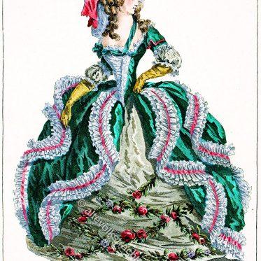 Französisches Hofkleid der  Comtesse d'Arvilly, 1785.
