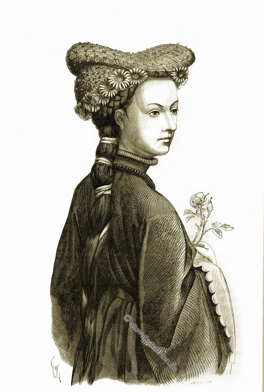 Viollet-le-Duc, Frisur, Mittelalter, Hennin, Kopfbedeckung, Gotik