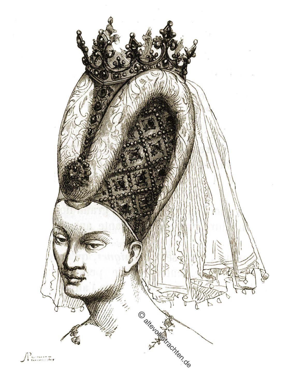 Isabeau de Bavière, Viollet-le-Duc, Frisur, Mittelalter, Hennin, Kopfbedeckung, Gotik