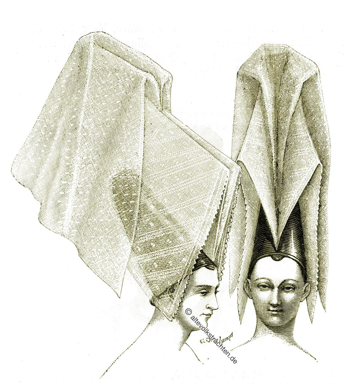 Schleier, Viollet-le-Duc, Frisur, Mittelalter, Hennin, Kopfbedeckung, Gotik