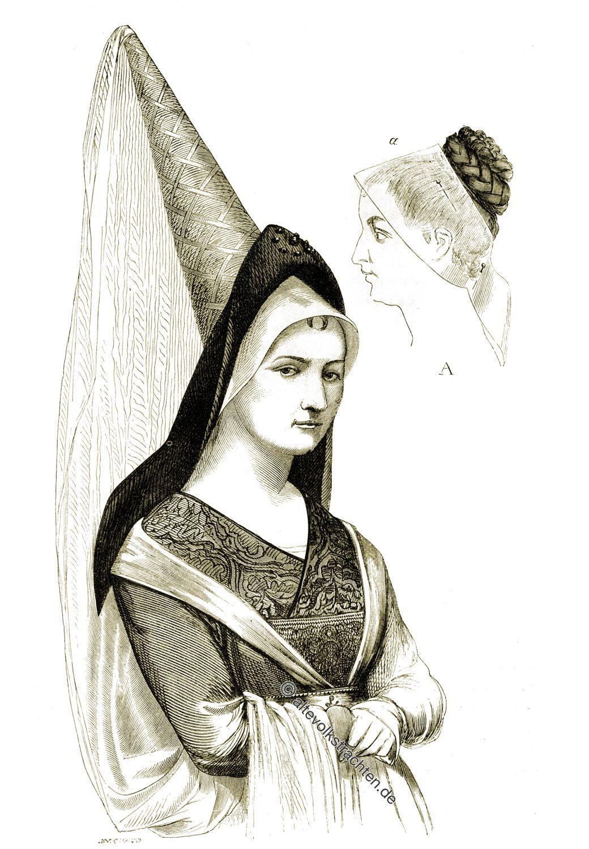 Guimpe, Chemisette, Viollet-le-Duc, Frisur, Mittelalter, Hennin, Kopfbedeckung, Gotik