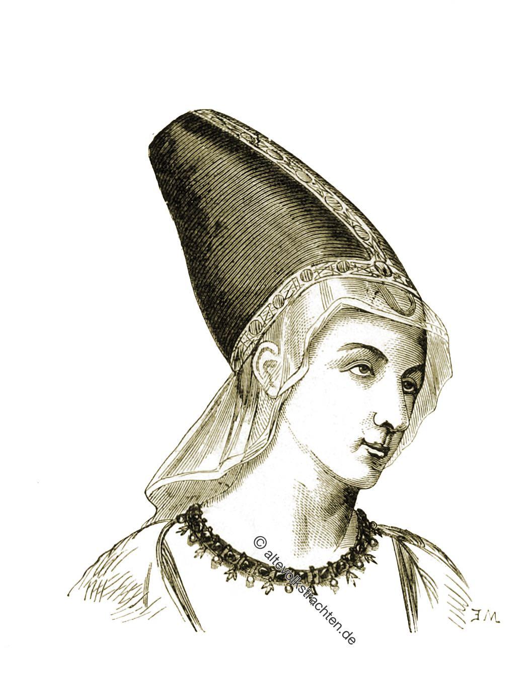 Prinzessin, Maria von Anjou, Viollet-le-Duc, Frisur, Mittelalter, Hennin, Kopfbedeckung, Gotik