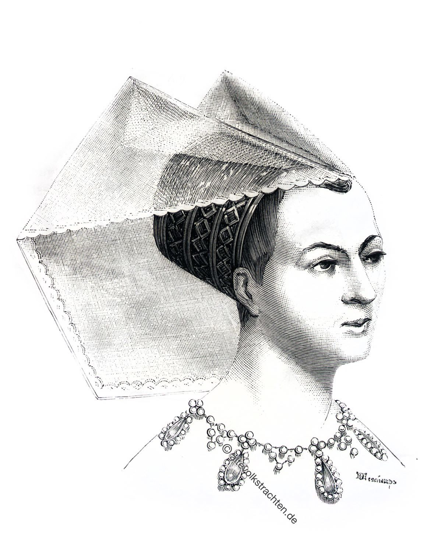 Chaperon, Viollet-le-Duc, Frisur, Mittelalter, Hennin, Kopfbedeckung, Gotik