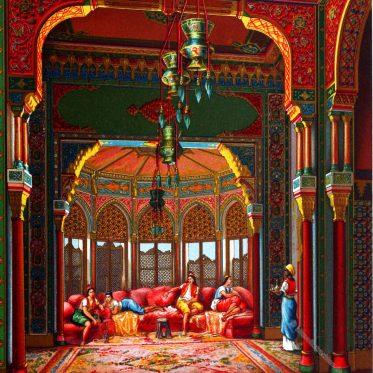 Innenarchitektur der türkischen Paläste. Interieur eines Harem.