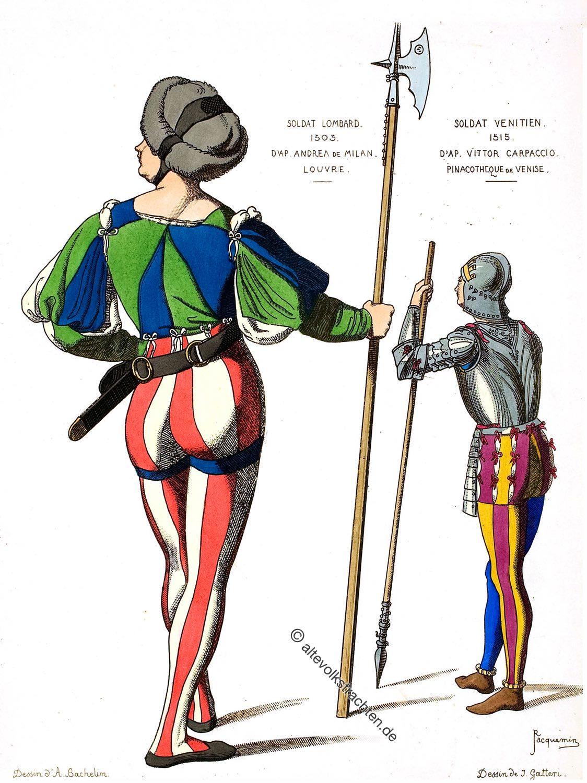 Soldaten, Italien, Mittelalter, Mi-Parti,