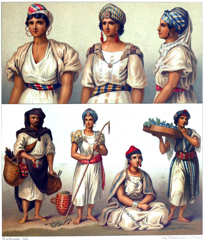Trachten, Maghreb, Algerien, Tunesien, Kabylen, Mozabiten, Mzabiten