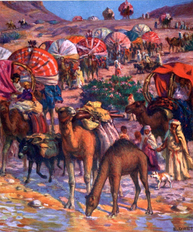 Etienne Dinet, Departure, حج, camel caravan, Mecca, dessert, sahara, arabs, Moslem