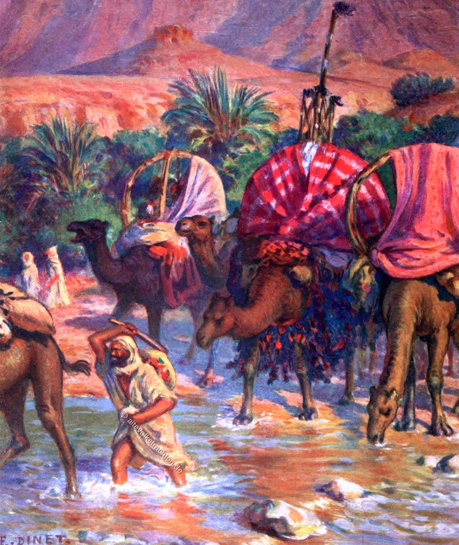 Etienne Dinet, Departure, حج, camel caravan, Mecca,