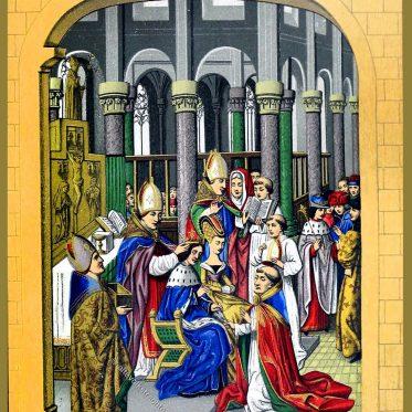 Krönung von Karl V., König von Frankreich im 14. Jh.