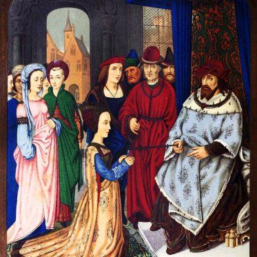 Die Königin von Saba vor Salomon. Kostüm aus dem 15. Jahrhundert.