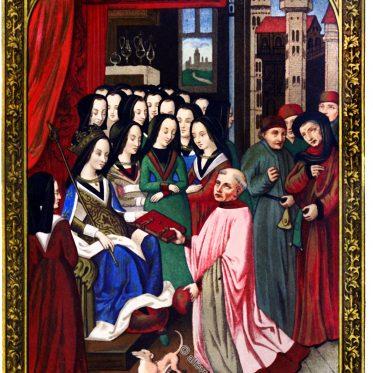 Der Gelehrte Robert Blondel, überreicht Maria von Anjou sein Buch, 14. Jh.
