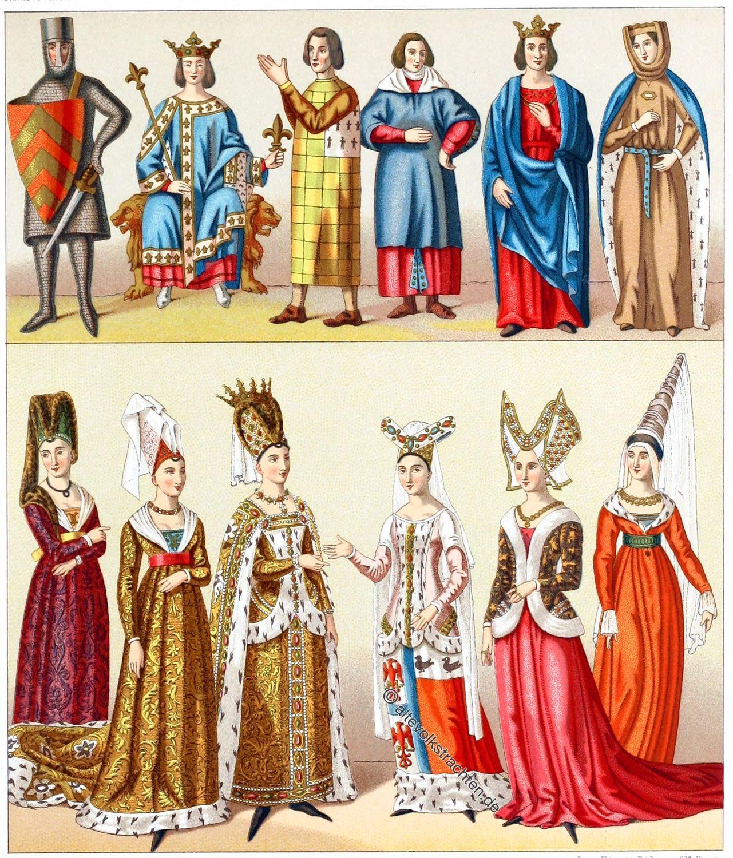 Mode, Mittelalter, Gewandung, Gotik, Adel