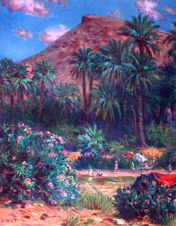 Etienne Dinet, dessert, sahara, Arabs, Moslems, Oasis, date palms, Arabian desert