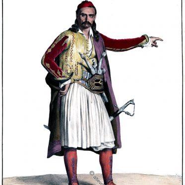 Soulioten. Oberbefehlshaber der Palikaris von Louis Dupré 1820.