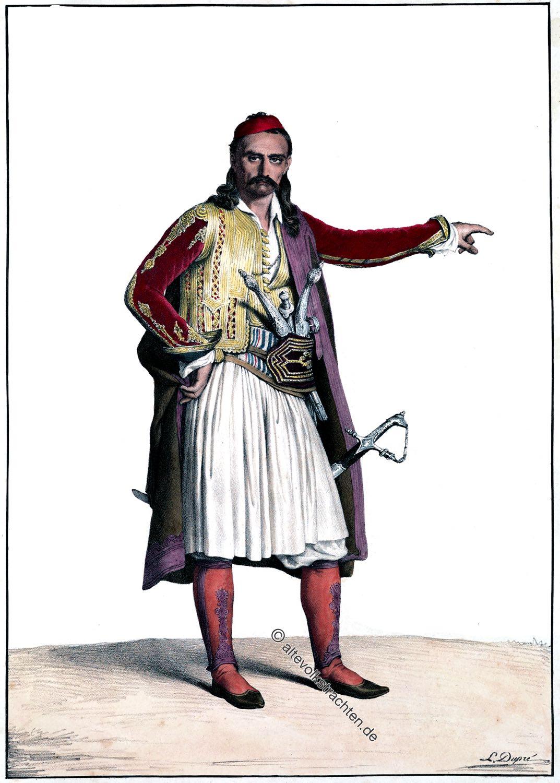 Louis Dupré, Palicare, Selléide, Souliotes, Griechenland, Trachten, Nationalkostüm