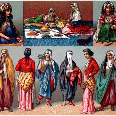 Persische Frauentrachten. Der Nikab, Hyader oder Tschador.