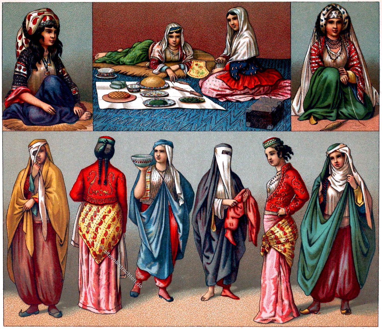 Persien, Iran, Trachten, Frauen, Frauenkleidung, Kostüme, Tschador, Nikab, Auguste Racinet,