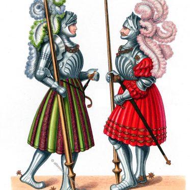 Ritter in lang gefälteten Waffenröcken und breiten Eisenfüßen.