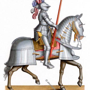 Einfache Kriegsrüstung für Mann und Pferd 1520 - 1560.