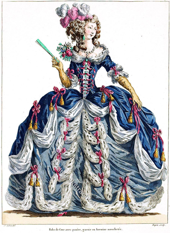 Robe de Cour, panier, Reifrock, Rokoko, Mode, Kostüm, Hofkleid, Versailles,