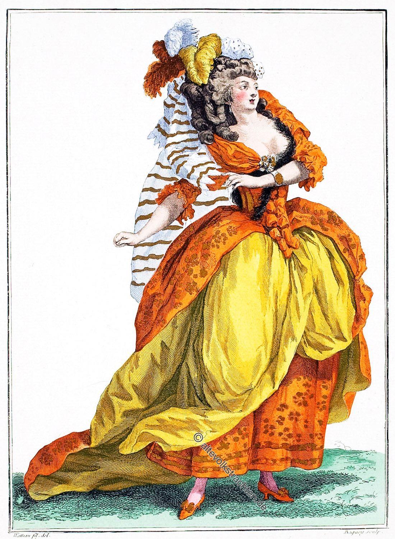 Galerie des Modes, Große Frisur, Rokoko, Ballet, Kostüm,