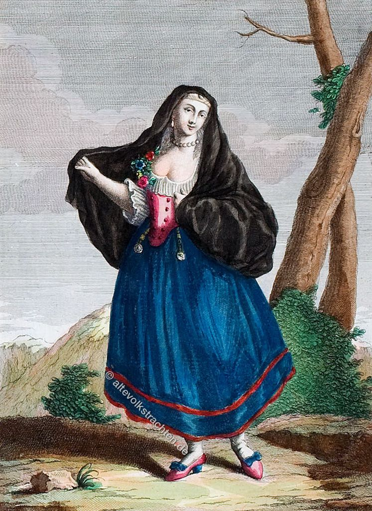 Trachten, Kostüm, Italien, Palermo, Donna Palermitana, Femme de Palerme.
