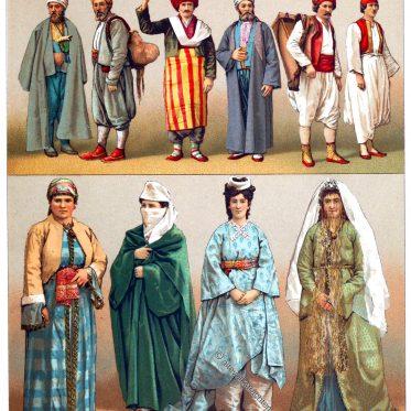 Türkei. Volkstrachten aus Konstantinopel (Istanbul).