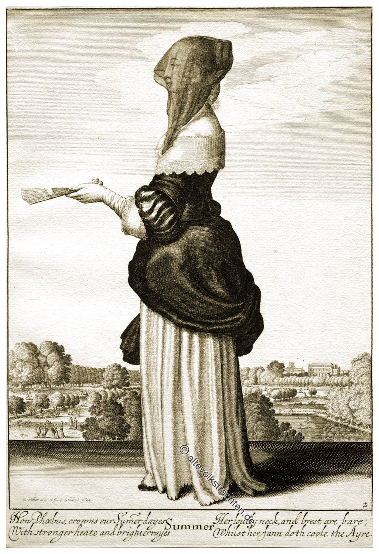 Wenzel Hollar, Jahreszeiten, England, Kostüm, Barock, Mode