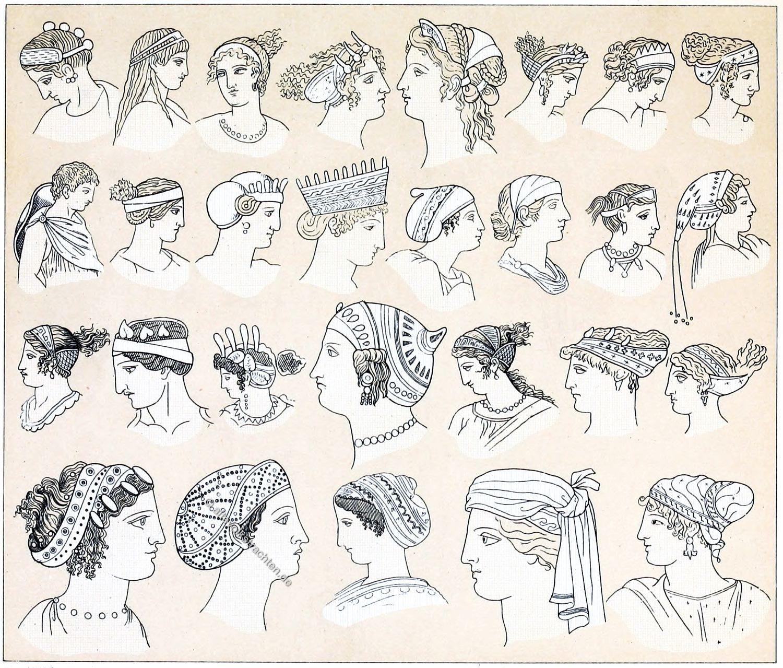Griechenland, Frisuren, Antike, Kostümgeschichte, Opisthosphendone, Sphendone, Kekryphalos, Anademata, Nimboi, Petasos