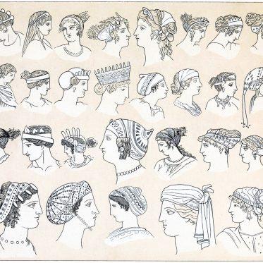 Griechenland der Antike. Moden der Haarfrisuren und Kopfbedeckungen.