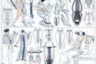 Auguste Racinet, Musikinstrumente, Lyra, Syrinx, Panflöte, Antike, Griechenland,