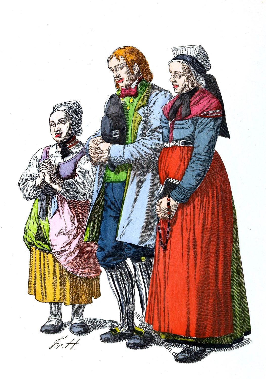 Friedrich Hottenroth, Trachten, Koblenz, Bauernfamilie, Hunsrück, betend