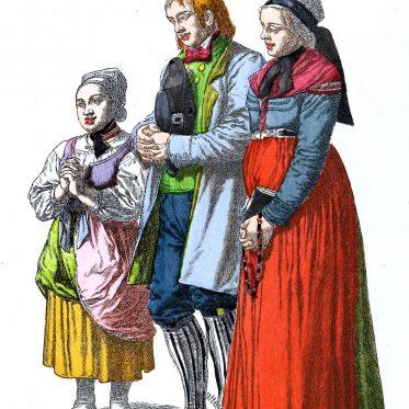 Hunsrücker Bauernfamilie aus der Gegend von Koblenz beim Gebet.