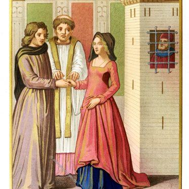 Die Frau mit zwei Ehemännern. Frankreich, 15. Jahrhundert.