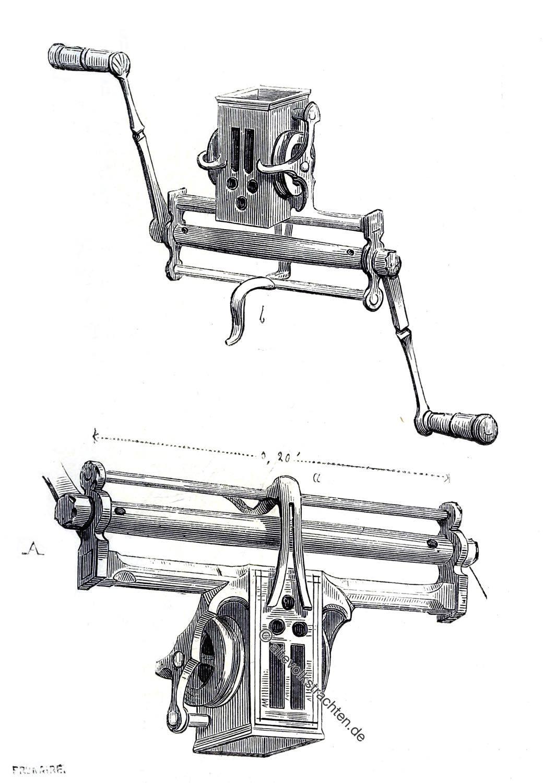 Englische Winde, Bogenwinde, Armbrusttechnik, Technik, Militär, Mittelalter, Waffe, Funktion