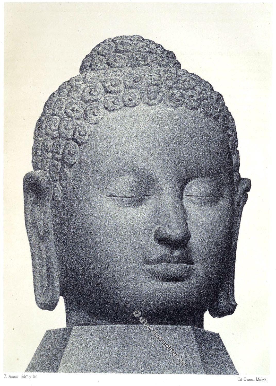 Buddha, Kopf, Buddhakopf, Statue,Tempel, Borobudur, Java, Buddhismus