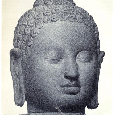 Buddha Kopf aus dem Tempel Borobudur, Indonesien (um 900).