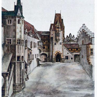 Ansichten eines Schloss- oder Burghofes im 16. Jh. von A. Dürer.