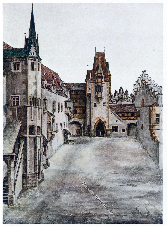 Albrecht Dürer, Schloss, Burghof, Architektur, Renaissance, Mittelalter