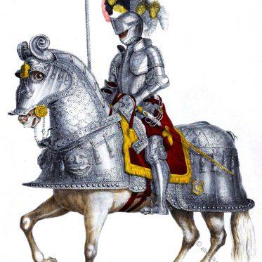 Karl V., Heiliger Römischer Kaiser, in Rüstung zu Pferde, 16. Jh.