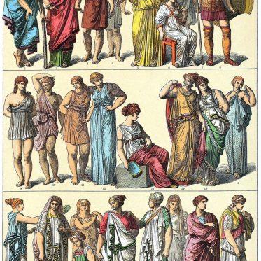 Chiton und Himation bei den Ionier und Dorer des antiken Griechenlands.