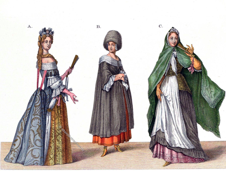 Deutsche Frauentrachten, Barock, Regensburg, Nürnberg, Hefner-Alteneck